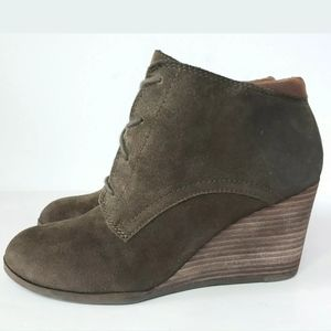 Lucky Brand LK-Sumba Wedge Lace Up Boots Women's 9